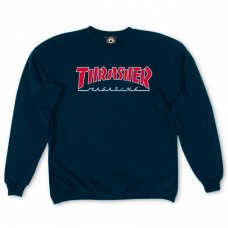 BLUZA THRASHER OUTLINED CREWNECK NAVY (Material gros)