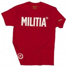 Tricou MILITIA Rosu text alb