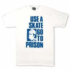 Tricou THRASHER USE A SKATE GO TO PRISON BLUE-WHITE